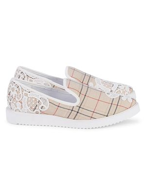 Karl Lagerfeld Paris Carlyn Lace Embroidery Plaid Loafers