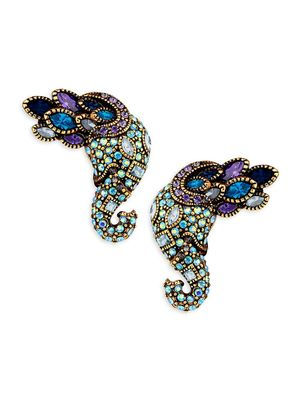 Heidi Daus Multi-Color Rhinestone Elephant Earrings