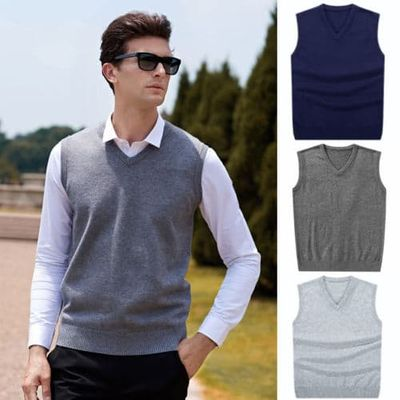 Hirigin 2018 Men Sleeveless Sweaters Knitted Warm Wool V Neck Sweaters Fashion Solid Autumn Vest Outwear Clothes Men Plus Size