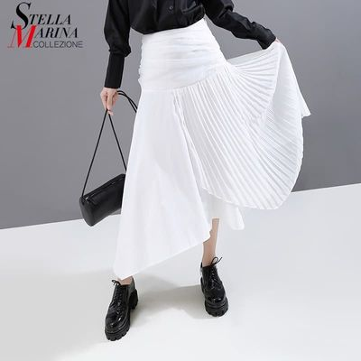 New 2019 Korean Style Women Solid White Skirt Pleated Part Patchwork High Waist Ladies Stylish Casual Streetwear Long Skirt 5597