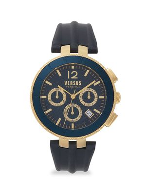Versus Versace Logo Gent Chrono Goldtone Stainless Steel Leather-Strap Watch
