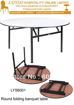 4 feet Folding round banquet table,Plywood 18mm with PVC(White)top,steel folding leg,2pcs/carton,fast delivery