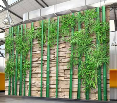 Decorative wallpaper Chinese 3D bamboo forest background wall painting