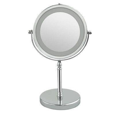 7 Inch 10x Magnification Circular Makeup Mirror Dual Sided LED 360 Degree Rotating Cosmetic Mirror Stand Magnifier