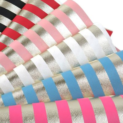 Stripe Ink Printed Gold Foil Synthetic Leather Fabric Faux Leather Sheets 20*34cm For Handbag Earrings DIY,1Yc9224