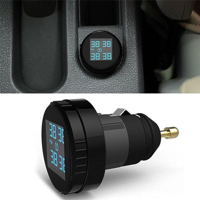 Professional Car Tire Pressure Monitor System Sensor TPMS Cigarette Lighter 4 External Sensor LCD Wireless Monitoring Tire