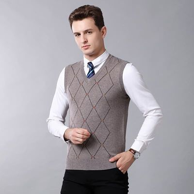 Men plaid Knitted cashmere Vest Autumn winter Men wool Pullovers Knitted Sweater sleeveless Men Sweater vests
