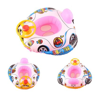 New Cute Baby Inflatable Swimming Pool Ring Seat Floating Car Shape Boat Aid Trainer with Wheel Horn Suit  YS-BUY