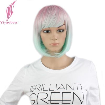 Yiyaobess Straight Light Pink Green Ombre Short Bob Wig With Bangs Synthetic Hair Cosplay Costume Women Wigs For Party 25cm