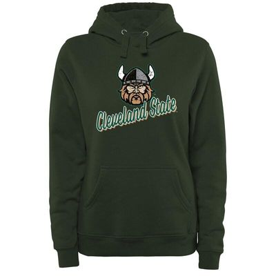 Cleveland State Vikings Women's Plus Sizes Slant Script Pullover Hoodie - Green