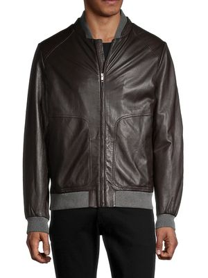 Saks Fifth Avenue Made in Italy Knit-Lined Leather Bomber Jacket