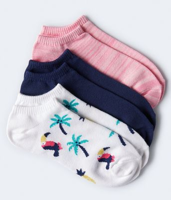 Aeropostale Tropical Toucan Ankle Sock 3-Pack***