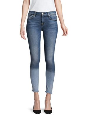7 For All Mankind Frayed-Hem Mid-Rise Skinny Ankle Jean