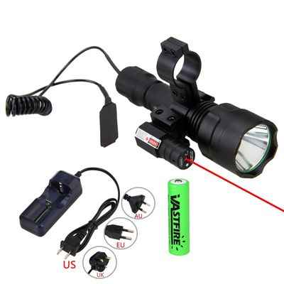 Hunting Torch Light Laser Dot Sight Scope Tactical Flashlight T6 LED Torch Pressure Switch Mount for Hunting Fishing Detector
