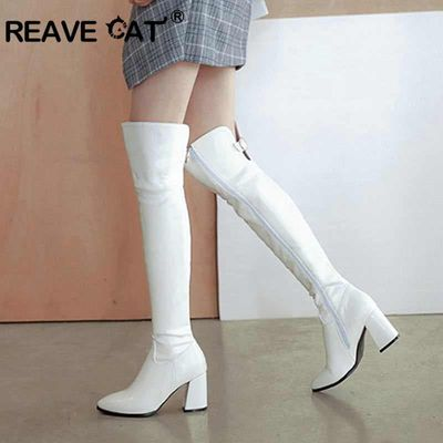 REAVE CAT Women Over knee boots Zip female High Heel shoes woman autumn Winter Shoes bota feminino Pu leather Pointed toe A1358