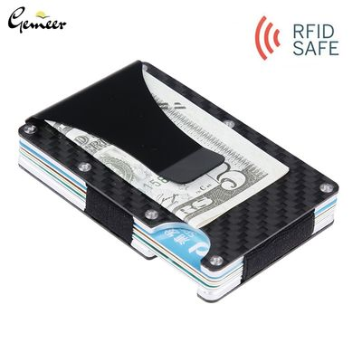 Gemeer Carbon Fiber Credit Card Holder RFID Non-scan Metal Wallet Purse Male Business Card Holder Carteira Masculina Billetera