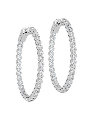 Saks Fifth Avenue 14K White Gold & White Diamond Hoop Earrings