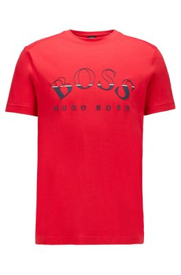 HUGO BOSS - African Cotton T Shirt With Curved Logo Print