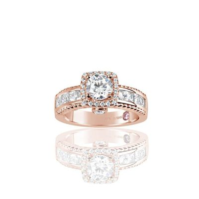 Suzy Levian Rose Plated Sterling Silver White Cubic Zirconia French Channel Set Engagement Ring