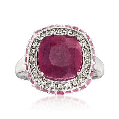 Ross-Simons Ruby and . White Topaz Ring in Sterling Silver