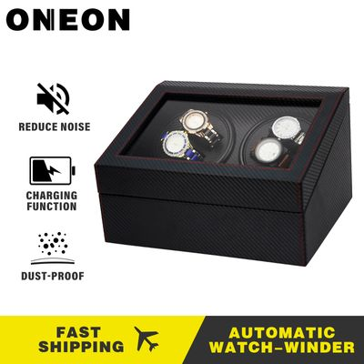 ONEON Luxary Automatic Watch Winder Box Mechnical Wooden Watch Box Display Accessories For 4 Slots Rotation Holder Winder Box