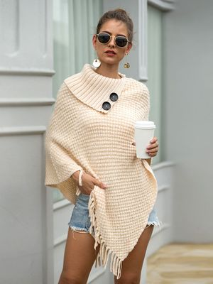 HEE GRAND New Women Wraps 2019 Fashion Tassels Cloaks Autumn Half Sleeve Knitted Pullovers Turn Down Collar Sweaters WZL1502