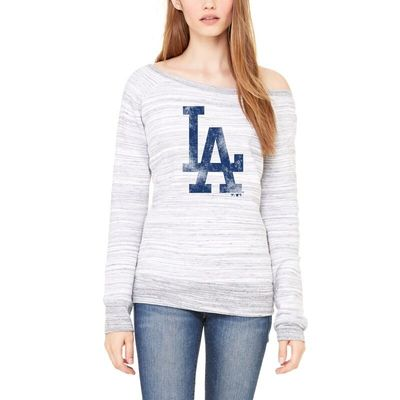 Los Angeles Dodgers Let Loose by RNL Women's Game Day Wide Neck Sweatshirt - Light Gray Marble