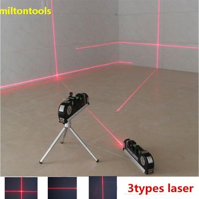 4 in 1 Accurate Multipurpose Laser Level Lever with tripod Cross Projects Horizontal Vertical Laser Light Beam Measure Tape