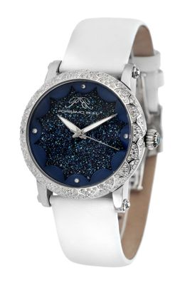 Porsamo Bleu Genevieve Crushed Crystal Dial And Topaz Gemstone Bezel Watch