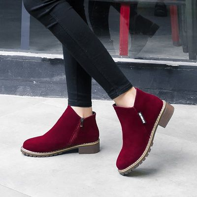 Women Boots 2019 Autumn Winter Boots Female Shoes Brand Ladies Ankle Boots Heels Shoes Woman Suede Leather Boots -85