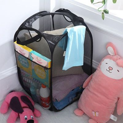60Cm Foldable Coarse Steel Wire Laundry Basket Dirty Clothes Pop Up Washing Bag Hamper Voile Mesh Clothing Organizer