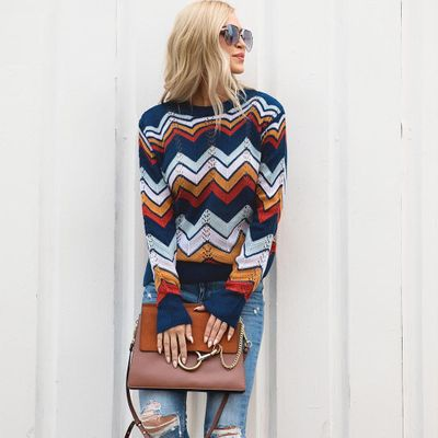 PatPat Round Neck Pullover Striped Rainbow Long-sleeved Autumn And Winter Casual Sweater Women