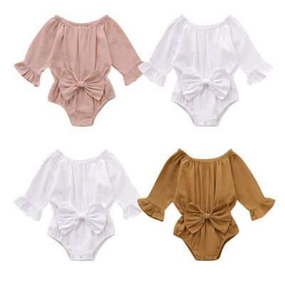 Cute Infant Baby Long Sleeve Rompers With Bowknot Kids Girls Bodysuit Jumpsuit Newborn Clothes