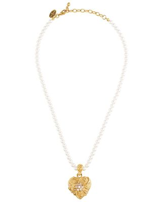 Jay Strongwater Scroll & Flower Heart Pearl Necklace