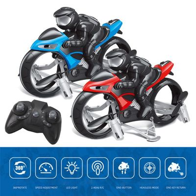 2.4GHz RC Motorcycle 2 In 1 Land Air Flying Motos Drone Toys With 360 Degree Rotation Drift Electric Motorcycle For Children
