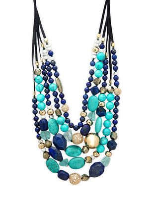 Alexis Bittar 10K Goldplated, Leather & Crystal Multi-Strand Beaded Necklace