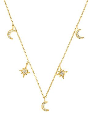 Sterling Forever Crystal Moon & Star Charm Necklace