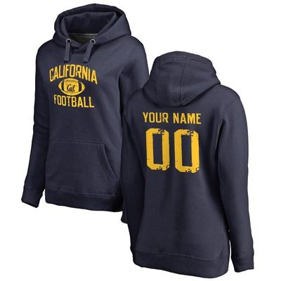 Cal Bears Women's Personalized Distressed Football Pullover Hoodie - Navy