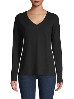 Pure Navy Everyday-Fit V-Neck Cotton Top
