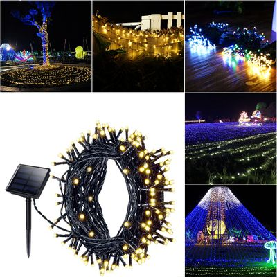 LED Solar Holiday Decoration String Light Outdoor Garden Waterproof String Light 8 Functions Warm White/White/Blue/Color