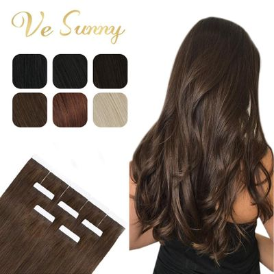 [Hot Sale]VeSunny Tape in Hair Extensions 100% Real Human Hair Solid Adhesive Skin Weft Glue on Machine Made Remy Blonde 50gr