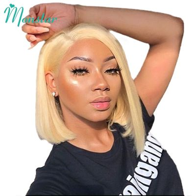 Monstar 13x6 613 Blonde Short Bob Wigs Remy Brazilian Straight 1B 613 Lace Wig Ombre Lace Front Human Hair Wig For Women