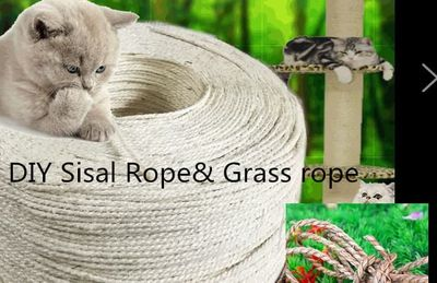 DIY cat toy Free shipping pet cat kitten toys sisal rope grass rope 4MM 6MM width cat scratcher toy