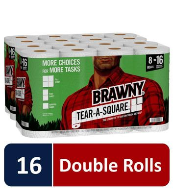 Brawny Paper Towels, Tear-A-Square, 16 Double