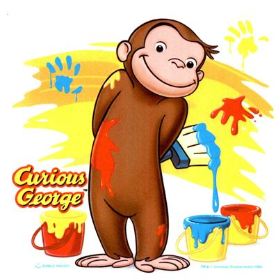 Cute Curious George Monkey Edible Icing Image for 1/4 Sheet cake