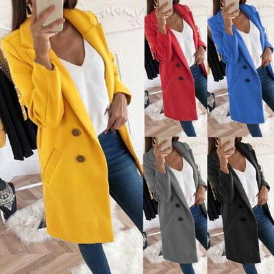 Solid Color Lapel Long Fund Button Woolen Overcoat Woman Suit Suits Maternity Pregnancy Clothes Clothing Breast Feeding