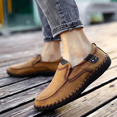 Plus Size 38-49 Men Slip On Shoes Outdoor Casual Moccasins (Gold)