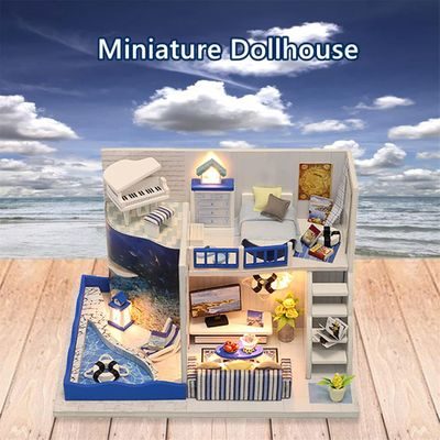 Sea Style Creative Room Doll House Furniture DIY Miniature 3D Wooden Handmade Dust Cover Toys for Children Birthday Gifts#g4