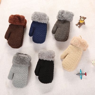 New Arrival Baby Autumn Winter Knitted Warm Gloves Girls Boys Infants Patchwork Outdoor Mittens Wool Gloves Wholesale