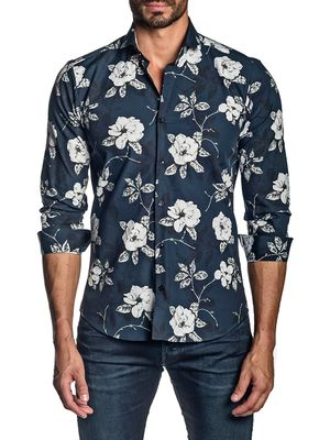 Jared Lang Floral Cotton Button-Down Shirt